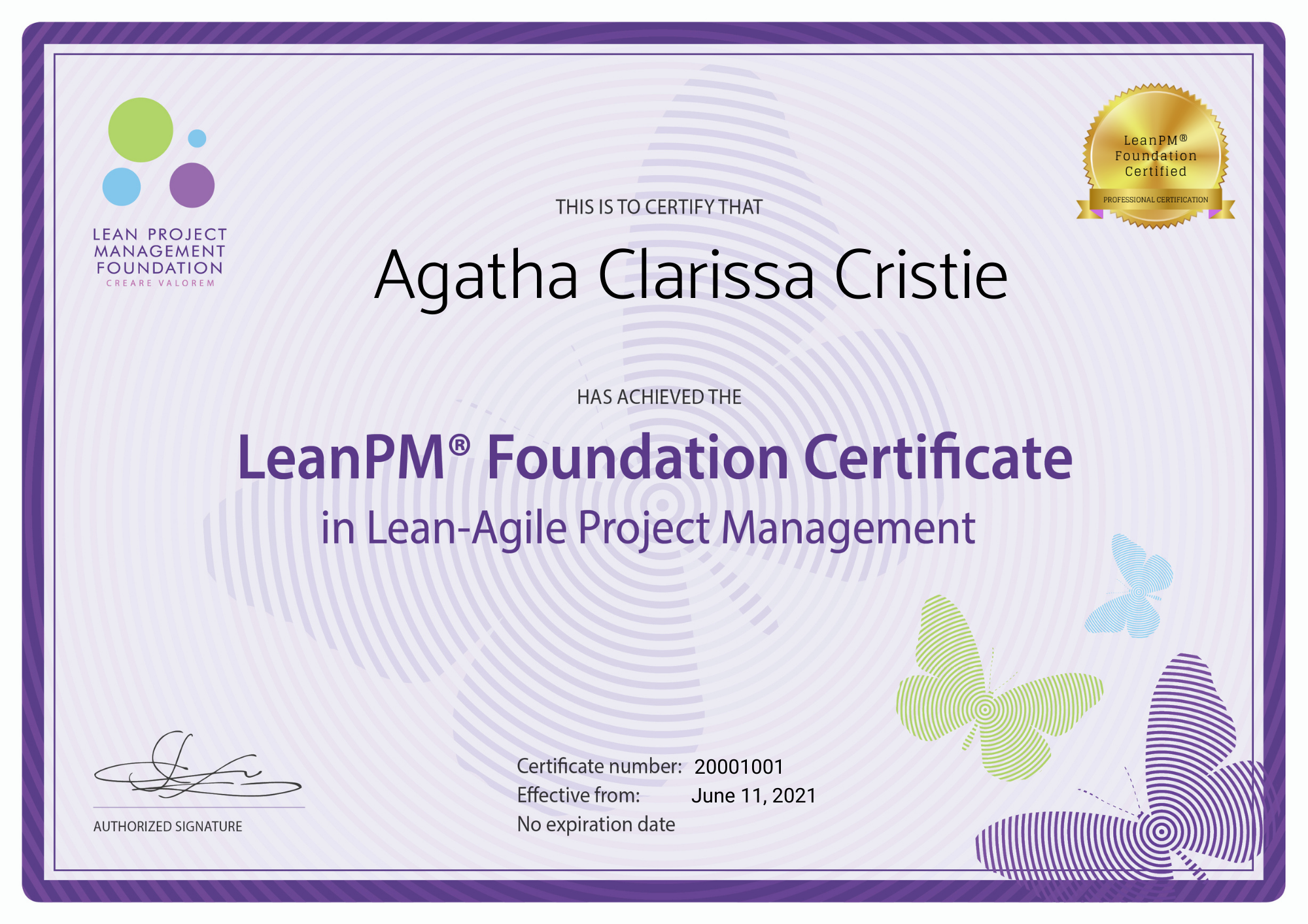 LeanPM Fondation Certificate